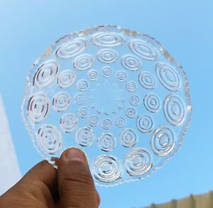 1910's ANTIQUE SCARCE SWIRL DESIGN ENGRAVED CLEAR GLASS BOWL BELGIUM