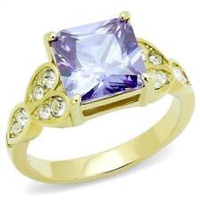 Amythest gold ring ladies princess cut purple cz square solitaire 5 carat 3125
