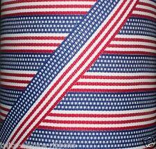 "5 yds 7/8"" PATRIOTIC STARS & STRIPES AMERICAN FLAG Grosgrain Ribbon"