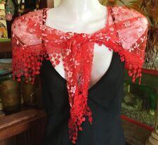 Fashion Event Peasant Gypsy Red Lace Tassel Wrap Shrug Wrap Shawl Scarf