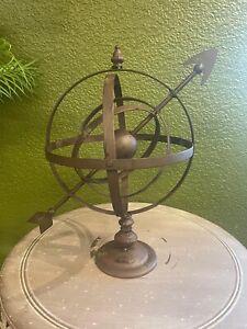 Armillary Sphere Sundial  Metal Garden Ornamental piece Brown standard size