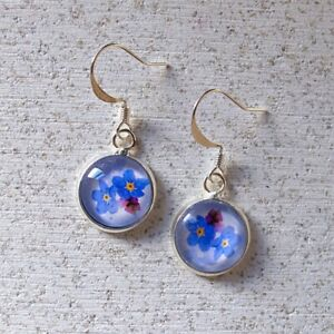 Forget Me Not Flower Earrings - Blue And Silver
