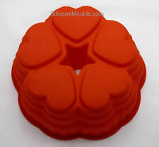 5 Heart Tube Ring Bundt Hearts Silicone Bakeware Cake Pan Mould Form Tin Baking