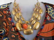 SALE Gold Statement Necklace with Orange Statement Ring was $20 NOW $15