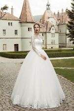 White Ball Gown Wedding Dress Lace/Tulle Long Sleeve Bridal Gown Size4+6+8+10+++