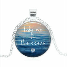 Ocean Sea Tibet silver Glass dome Necklace chain Pendant Wholesale