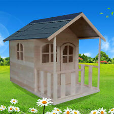 Wooden Outdoor Playhouse Cubby House with Windows Frame & Verandah