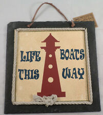 Life Boats This Way Lighthouse Nautical Home Decor Sign Wall Plaque Slate