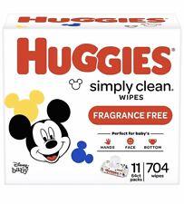 (704 Wipes Total) Huggies Simply Clean Unscented Baby Wipes, 11 Flip-Top Packs