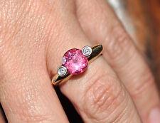 1.45ct Pink Tourmaline Val $2345. & Diamond Ring 18ct gold 4.8gm Size P US 7 3/4