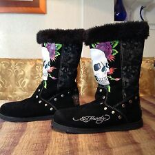 Ed Hardy women's faux fur lined studded boots skull & roses on black suede Wns 9