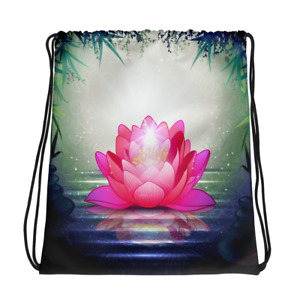 New Beautiful Lotus Flower Gym, Travel & School Drawstring Bag - Yoga Backpack