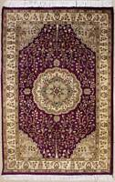 Rugstc 3x5 Senneh Pak Persian Purple  Rug, Hand-Knotted,Floral with Silk/Wool