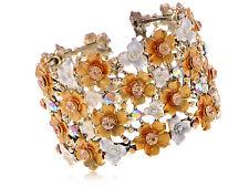 Vintage Orange Topaz Flower Garden Crystal Rhinestone Bracelet Bangle Cuff Gift
