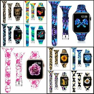 Silicone Sport Band for Apple Watch Floral Thin Slim Strap Wristbands for iWatch