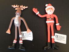 X2 CHRISTMAS BENDABLES- FESTIVE! XMAS! BENDY SANTA! PARTY BAG TOYS GIFT! SENSORY