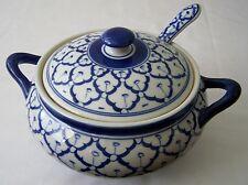"CERAMIC BOWL Asian Thai Blue & White MICROWAVE Bowl + Lid + Spoon 8.25"" Diameter"