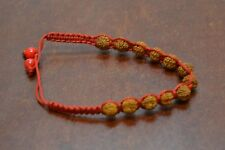 RED BRAIDED HANDWOVEN RUDRAKSH JAPA MALA ROSARY BRACELET BAND 7MM #B-16