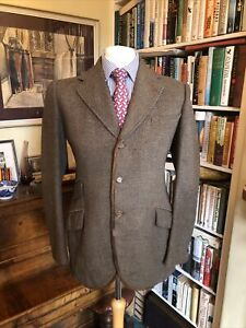 Huntsman & Sons of Savile Row Bespoke Heavy Tweed Hunt Coat With Leather Trim