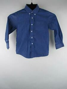 Rugged Bear Boy sz 7 Blue Cotton Long Sleeve Wrinkle Resistant Button-Front Top
