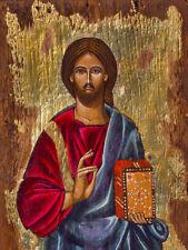 icon of Jesus Christ wooden Byzantine Greek  Christistian orthodox catholic