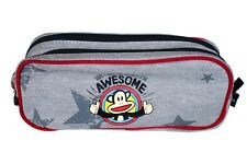 PAUL FRANK PENCIL SCHOOL POUCH CASE TEXTILE GRAY RED AWESOME FULL ZIPPERS