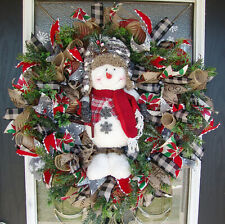 Country Snowman Christmas Winter Deco Mesh Front Door Wreath Decoration Decor