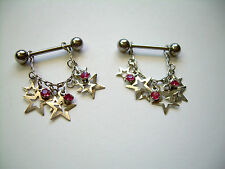 PAIR Lot of 2 Nipple Ring Shields With Barbells ML14A PINK CZ Multi Open Star