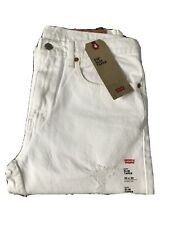 """New Levis Mens 512 Slim Taper White Stretch Ripped/Distressed Jeans Size 34""""x32"""""""