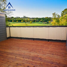 Alion Home 3 FT Tall Custom Length Privacy Screen For Patio & Balcony Beige+Trim