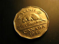 Canada 1948 5 Cent Coin.
