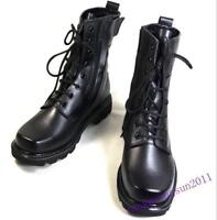 Men fashion Shoes Combat Army Ankle Black Boots Lace Up Pu Leather Overall Size