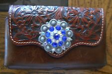 Leather Bling 3D Mahogany Floral Concho Western Cell Phone 3x5 Cowgirl Accesory