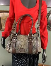 FOSSIL Maddox Python Snakeskin Brown Leather Trimmed Satchel Handbag #ZB5337