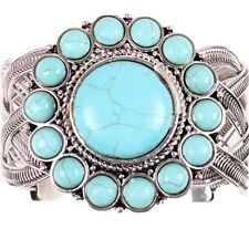 Blue synthetic turquoise bead sun flower twisted spiral wide open cuff bracelet