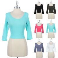 Women's 3/4 Sleeve Solid Scoop Neck Cropped Top With Backhole Casual Cute S M L