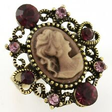 Antique Gold Vintage Style CAMEO Ring Heart Dark Purple Stone Crystal Size Free