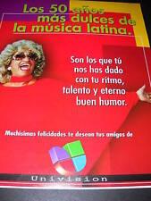 CELIA CRUZ promo ad LOS 50 ANOS MAS DULCES DE LA MUSICA