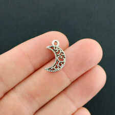 BULK 50 Crescent Moon Charms Antique Silver Tone 2 Sided - SC7882