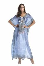 Plus Size Maxi Dress Long Print Sheer Embellished Kaftan Size 16-18-20-22