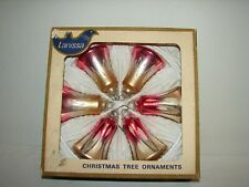 Vintage Lanissa Mercury Glass Bell Ornaments Lot (6) Original Box
