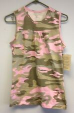 Lady Belle Ranger Ladies Pleated Tank Top Pink Camo Small (NEW)