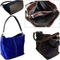 Royal Blue Italian Real Suede Leather Shoulder Handbags Ladies Tote Weekend Bags
