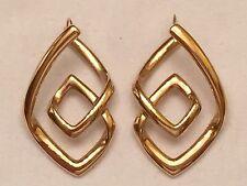 Bold Geometric Design Drop Earrings, 14K Yellow Gold