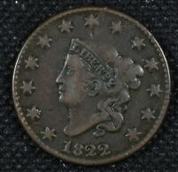 Very Fine 1822 Liberty or Matron Head Large Cent Coin