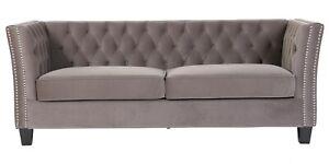 Chesterfield 3 Seater York Grey Velvet Flat Pack Sofa