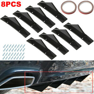 Universal Gloss Black 8 Shark Fins Car Rear Bumper Spoiler Wing Lip Diffuser Kit