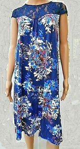 Ladies Cap Sleeve Shift Dress with Lace Yoke- Indigo / Multi Floral- NEW
