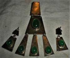 VINTAGE RETRO 1940–1960s STERLING SILVER PENDANT & EARRING SET GREEN STONE vafo