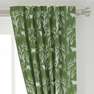 """Damask Highland Cows Green Toile Western 50"""" Wide Curtain Panel by Roostery"""